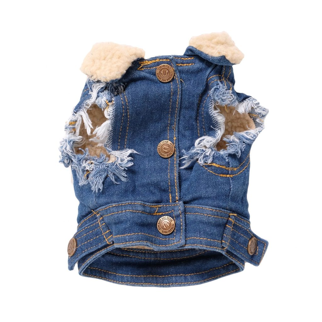 Sherpa Lined Denim Dog Vest