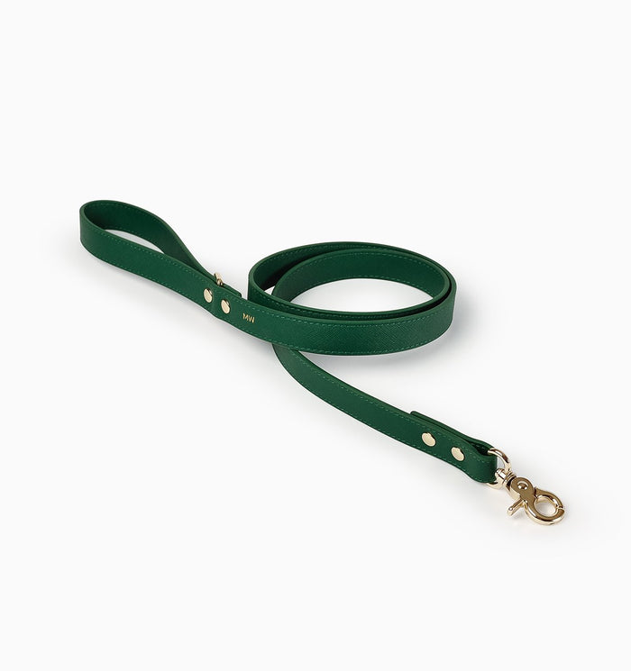 Classic Royal Green Leather Lead