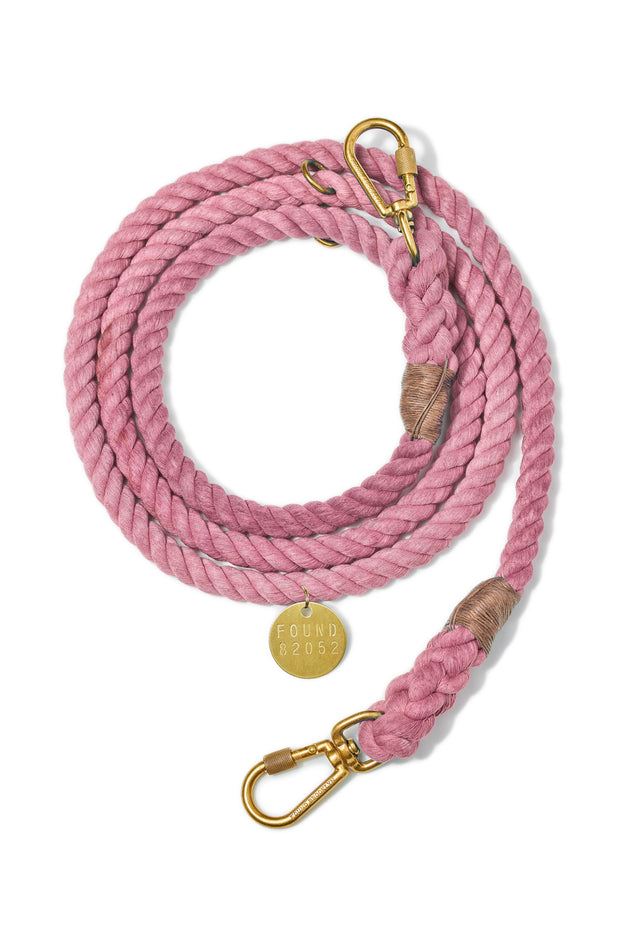 Found My Animal: Adjustable Blush Cotton Rope Dog Leash