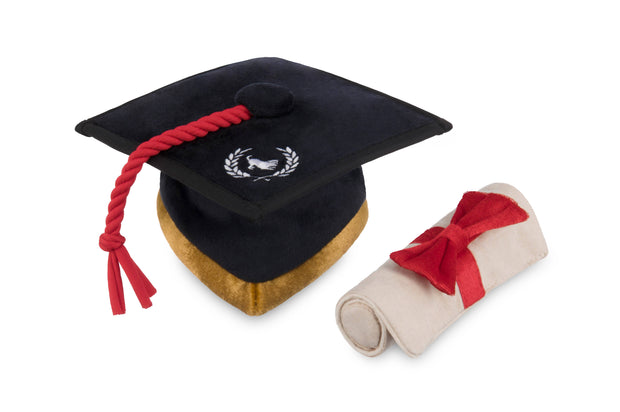 Grad Cap with Scroll Dog Toy