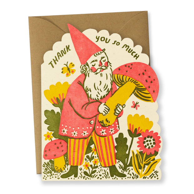 Bison Bookbinding & Letterpress - Thank You Gnome Greeting Card