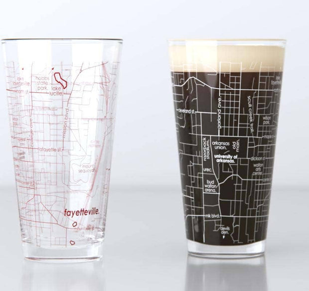 Well Told: University of Arkansas Campus Map Pint Pair