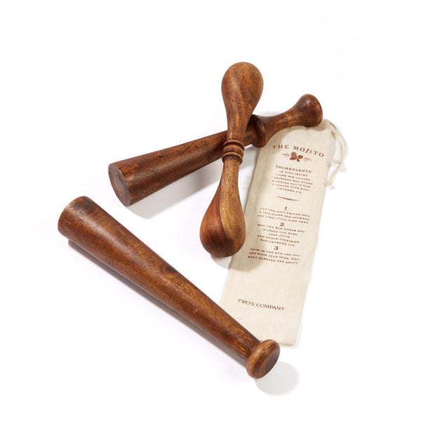 Old Fashioned Wooden Muddler in Gift Pouch