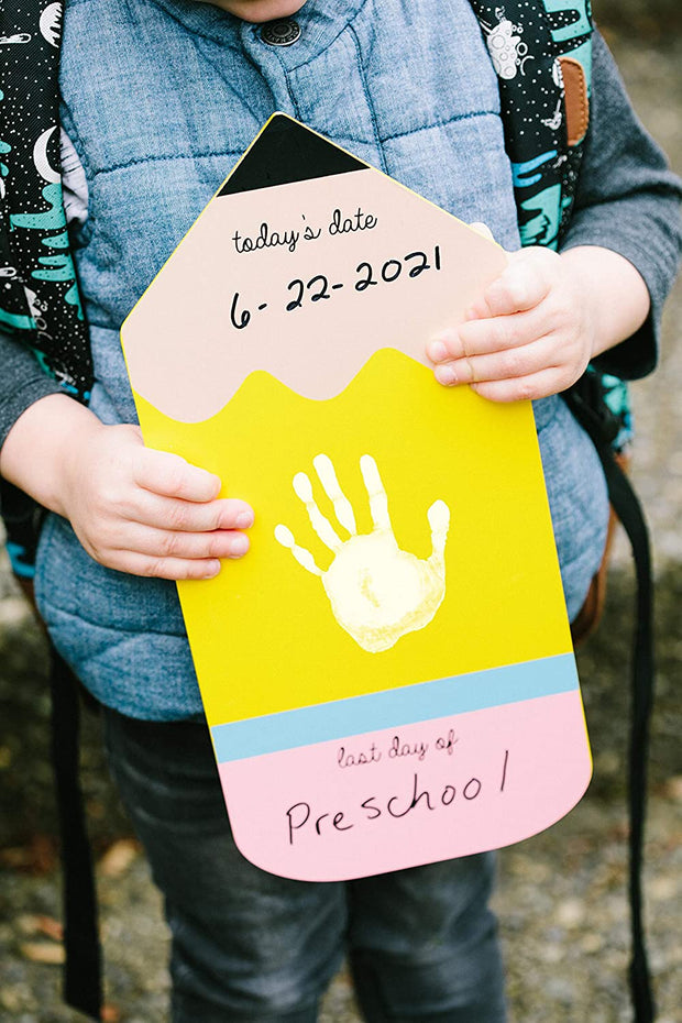 First or Last Day of School Reversible Pencil Handprint Sign