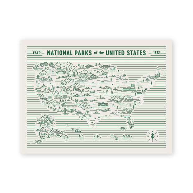 Fell - National Parks Map 18x24 Screen Print