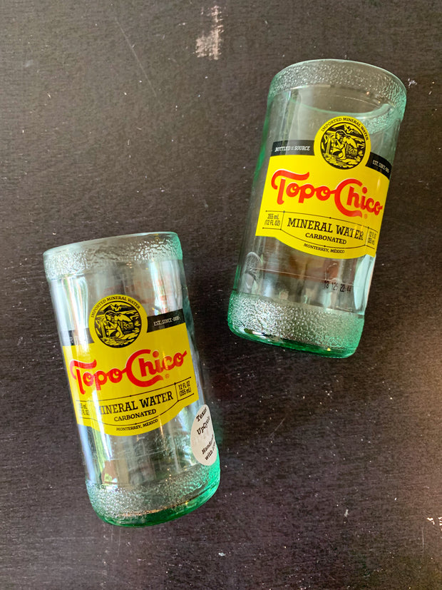 Texas UpCycle: Topo Chico Recycled Bottle Glasses (Set of 2)