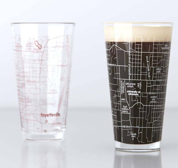 University of Arkansas Campus Map Pint Pair