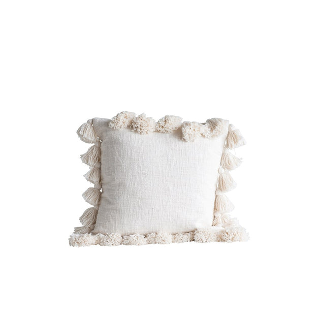 "18"" Square Cotton Pillow w/ Tassels, Cream"