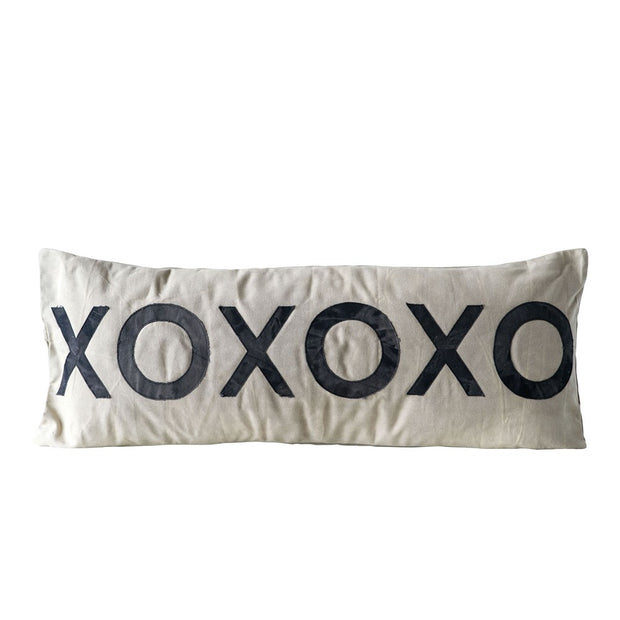 "36""W x 14""H Cotton Canvas Pillow ""XOXOXO"""