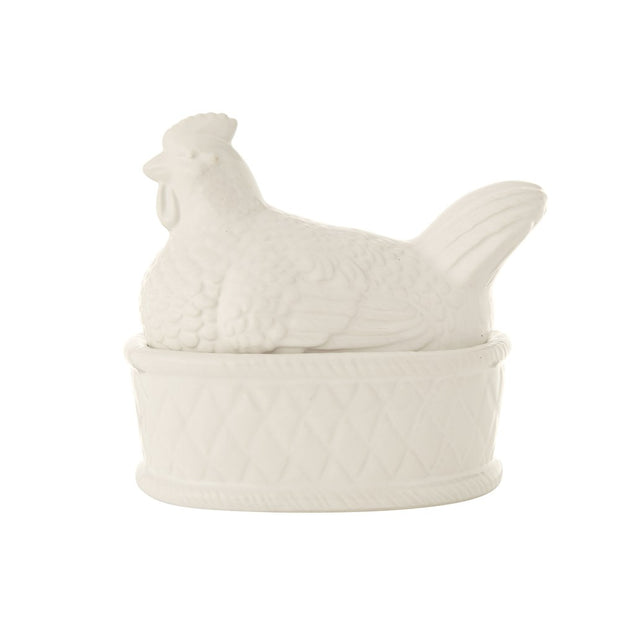 Ceramic Chicken Covered Dish, White