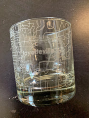 Fayetteville, AR Map Rocks Whiskey Glass
