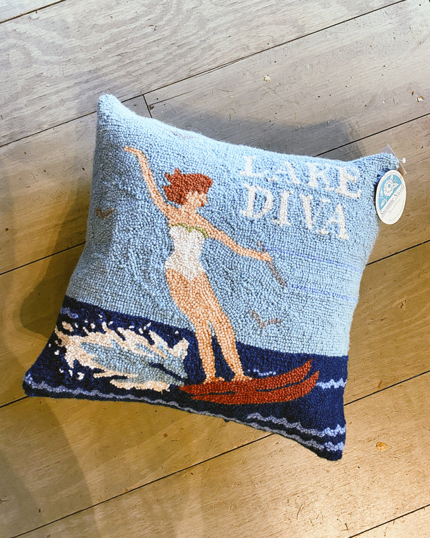 Lake Diva Hooked Pillow