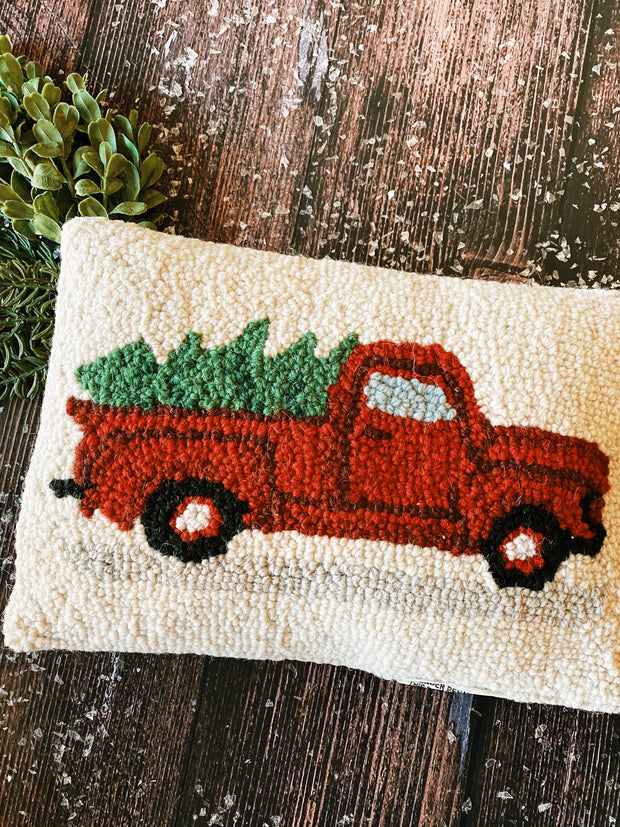 Tree On Truck Hook Pillow - Christmas