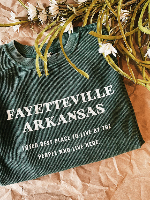 Fayetteville AR Voted Best Place Corded Sweatshirt (City Supply Exclusive) - Hunter Green