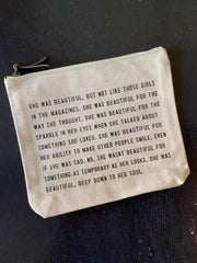 Sugarboo & Co: Canvas Zip Bag - She was beautiful