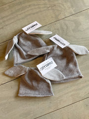 Cotton Knit Bunny Hat, Grey