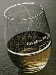Fayetteville AR Map Stemless Wine Glass