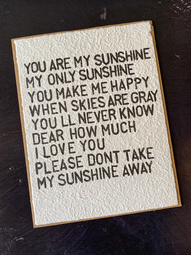 Sugarboo & Co: Handmade Print - You Are My Sunshine