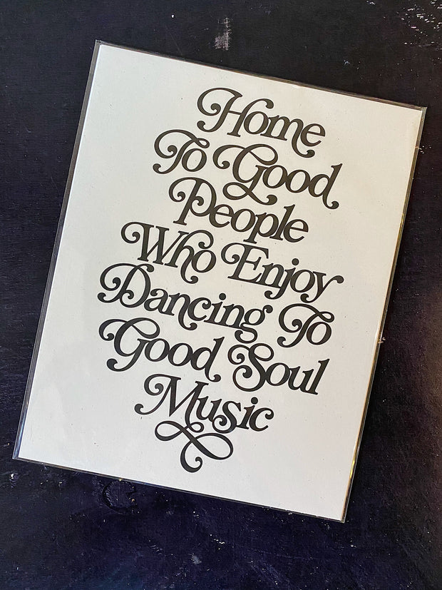 Letterpress: Home To Good People Print