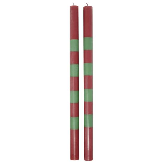Striped Taper Candles - Red and Green (Set of 2)