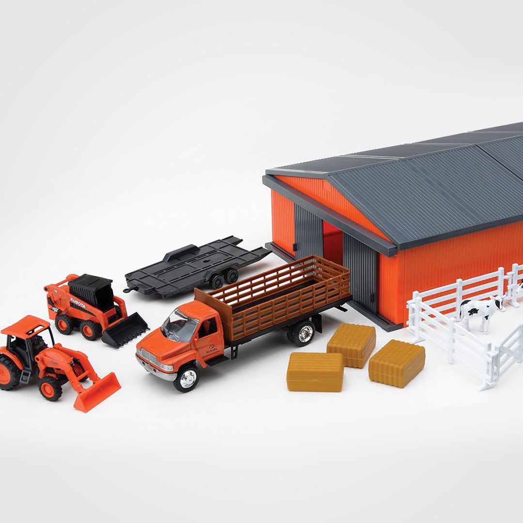 Farm Tractors & Shed Set