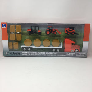 Farm Tractors & Flatbed Semi Playset