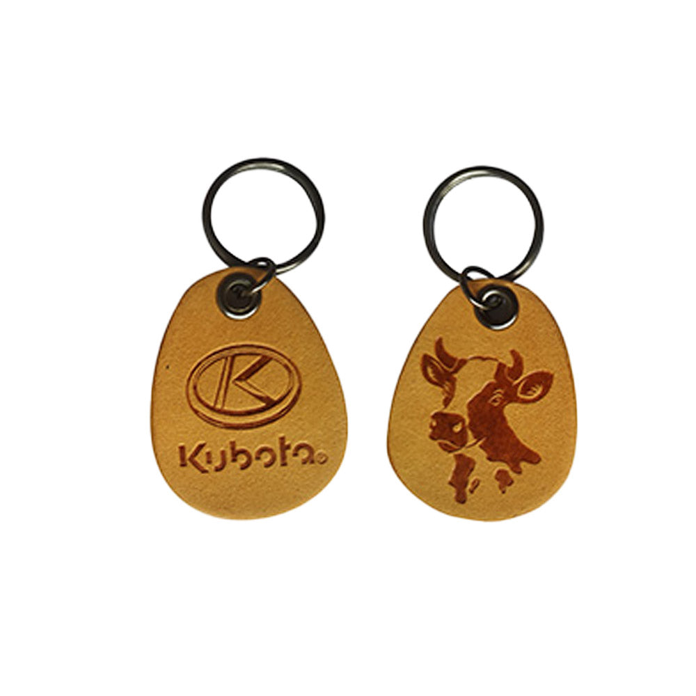 Double Sided Man Made Leather Keychain-Cow