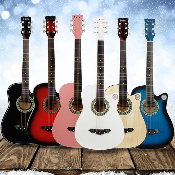 IRIN 38 Inch Guitar Acoustic Guitar Acoustic Beginners Getting Started Practicing Stringed Instruments Guitar