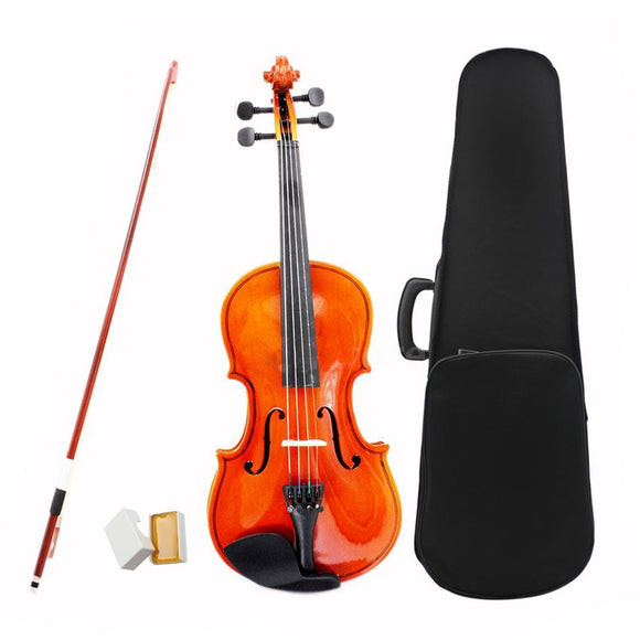 ADDFOO Size 1/2 Natural Violin Basswood Steel String Arbor Bow Craft Stripe Fiddle for Beginners