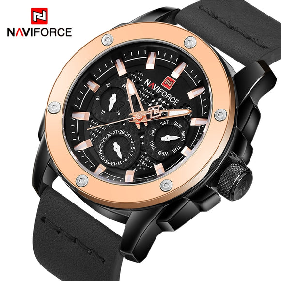 NAVIFORCE Luxury Brand Men's Quartz Watches Men Waterproof Date Clock Man Fashion Sport Leather Wrist Watch Relogio Masculino
