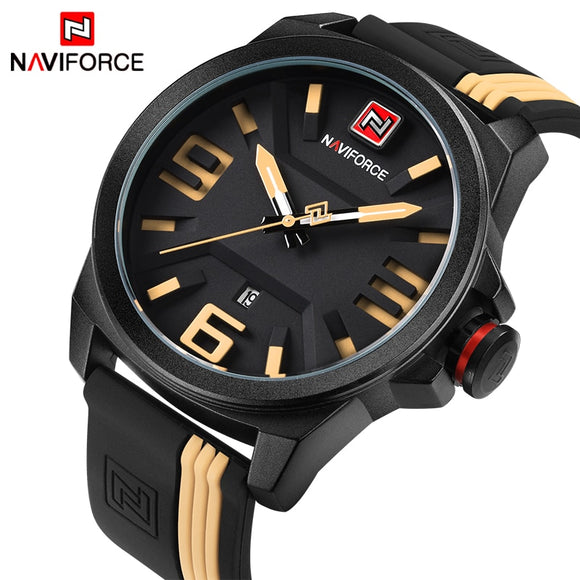 2017 NEW NAVIFORCE Brand Men Fashion Casual Sport Watches Men's 3D Face Quartz Date Clock Man Waterproof Watch Relogio Masculino