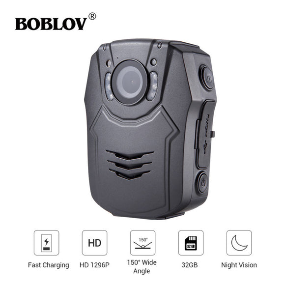 BOBLOV PD50 HD 1296P IR Night Vision Quick Charge Body Worn Camera Security Pocket Police Camera Video Recorder Up to 6 Hours