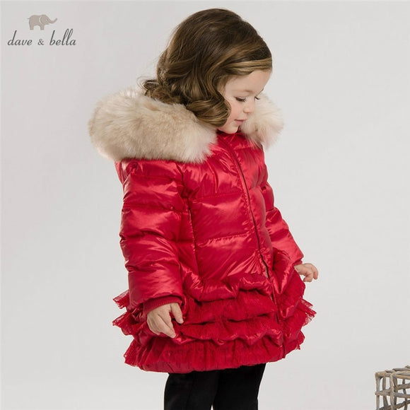 DB3390 dave bella  winter infant coat baby down padded coat girls white duck down feather coat girls red pink  coat  jacket