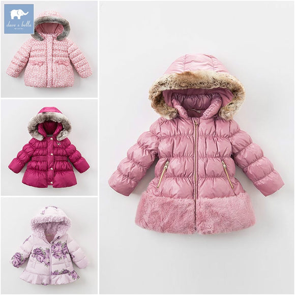 DB6100 dave bella Clearance winter baby girls down jacket children white duck down padding coat kids infant hooded outerwear