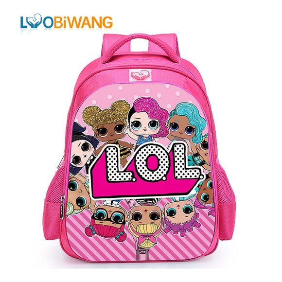 LUOBIWANG Children LOL Dolls Baby School Backpack Lovely Pink School Bags for Girls Orthopedic Backpack Kid Student Schoolbag
