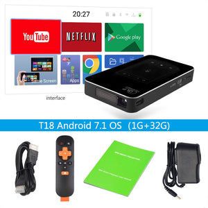 ThundeaL DLP Projector T18 WiFi Android 7.1 Bluetooth Pico Pocket HDMI Support 4K 1080P Mini 16G 32G Mini Projector Optional T17