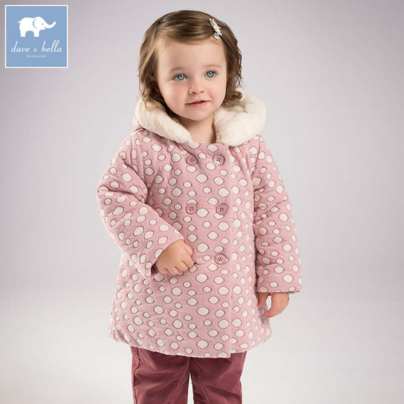 DB6087 dave bella winter infant baby girl lovely Jackets toddler girls Hooded outerwear children hight quality coat