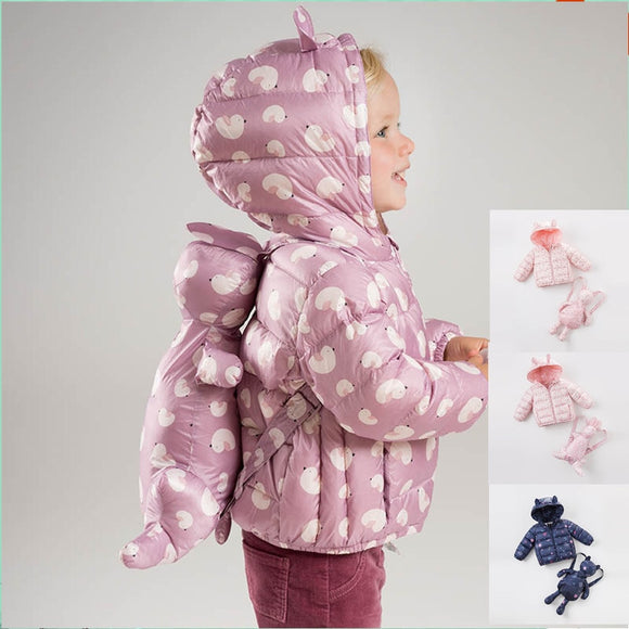 DB4669-N dave bella winter infant coat baby girls 4 color with bags coat white duck down padded coat hooded  printing outerwear