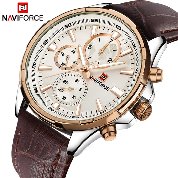 NAVIFORCE Men Fashion Casual Watches Top Luxury Brand Men's Quartz 24 Hours Date Clock Man Leather Waterproof Sports Wrist Watch