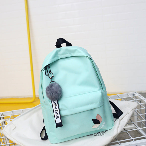 2018 Solid backpack girl school bags for teenage College wind Women SchoolBag High student bag black nylon printing