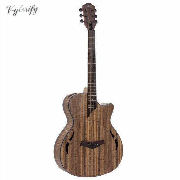 full hickory wood electric acoustic guitar with eq with tuner