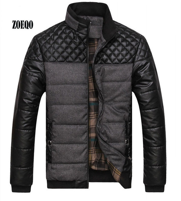 ZOEQO Dropshipping NEW winter spring thick Men's Jackets and Coats PU Patchwork Designer Fashion Mens Jackets Cotton Outerwear
