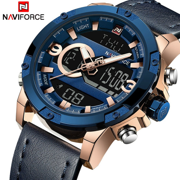 NAVIFORCE Mens Sport Watches Men Top Luxury Brand Quartz Digital Clock Man Waterproof Leather Army Wrist Watch Relogio Masculino