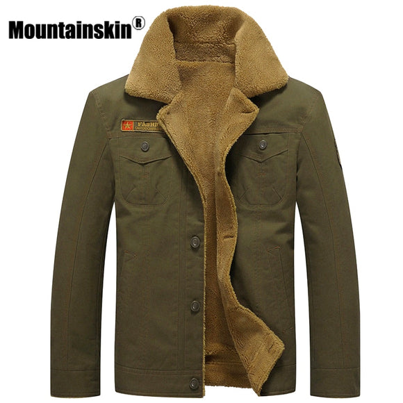 Mountainskin Winter Warm Jackets Thick Fleece Men's Coats Casual Cotton Fur Collar Mens Military Tactical Parka Outerwear SA351