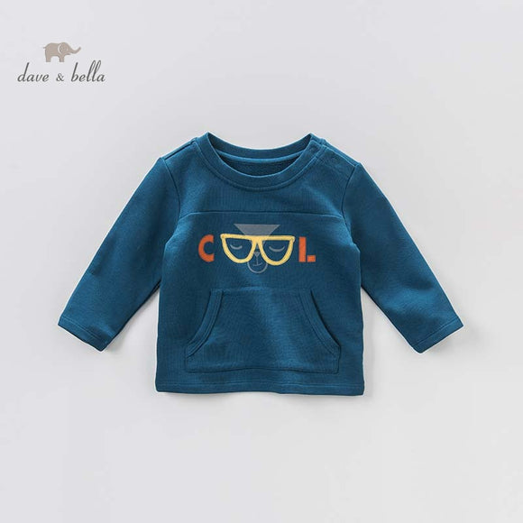 DBA7825 dave bella autumn baby boys print t-shirt handsome toddler top children high quality tees