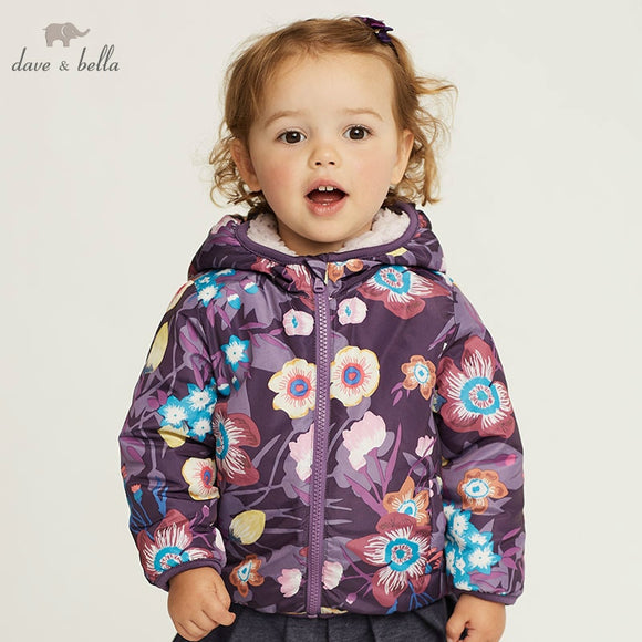 DB4258-C dave bella autumn infant baby girls fashion coat  toddler girls  print Hooded coats children high quality clothes