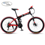 "Mountain bike 21speed 26"" inch folding bike road bike unisex full shockproof frame bicycle front and rear mechanic free shipping"