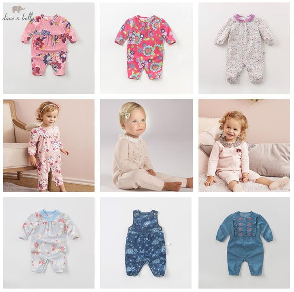 DB4017 dave bella clearance spring autumn baby girls cute infant one piece toddle knitting romper children boutique jumpsuit