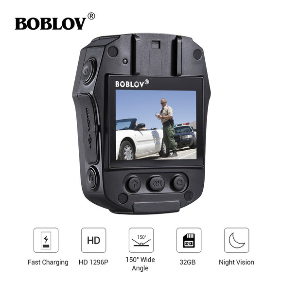 BOBLOV PD50 HD 1296P IR Night Vision Body Worn Camera 32GB/64GB Security Pocket Police Camera Video Recorder