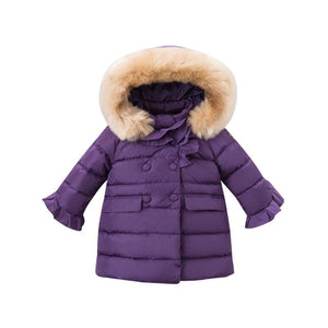 DB5918 dave bella winter baby girls down jacket children white duck down padding coat kids hooded outerwear